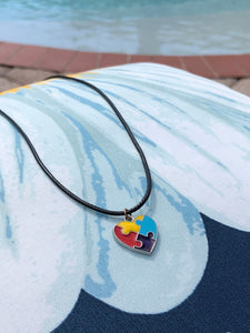 Autism Heart Pendant with leather necklace