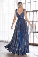 Load image into Gallery viewer, A-line pleated gown with glitter metallic finish and deep plunge v-neckline.