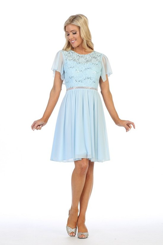 6405-s- Short sleeve laced mid-length dress