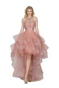 LM8027-HALTER NECK BEADED TULLE DRESS