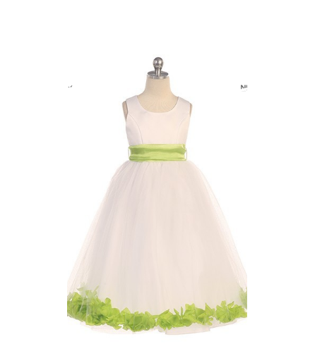 #2570IB-White formal dress with flower petals
