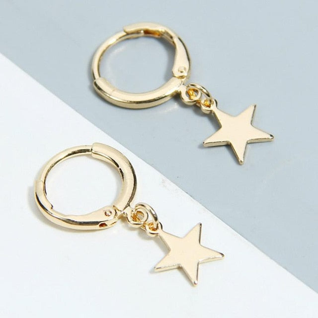 Star Mini Hoop Earrings Gold
