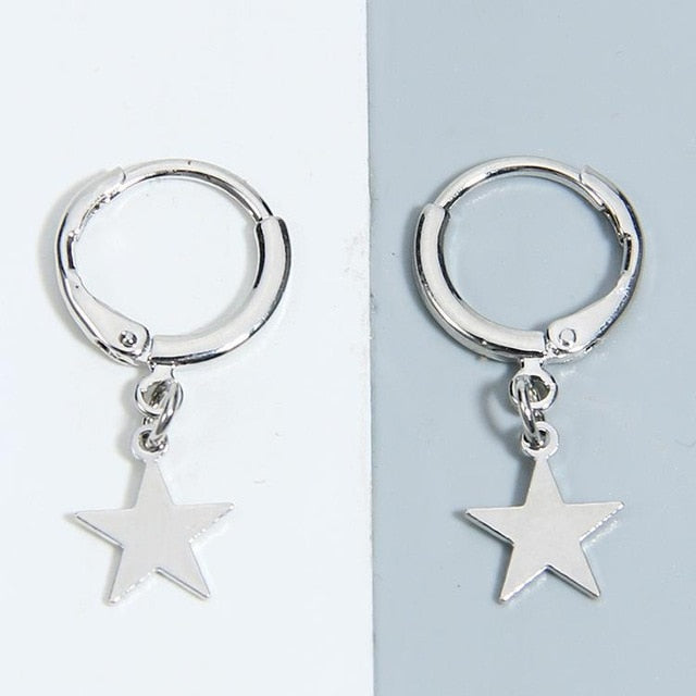 Star Mini Hoop Earrings Silver