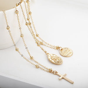 Stacked Medallion Necklace Gold