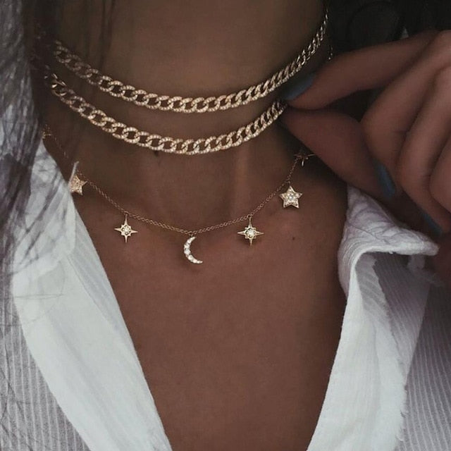 Sky Stacked Choker Gold