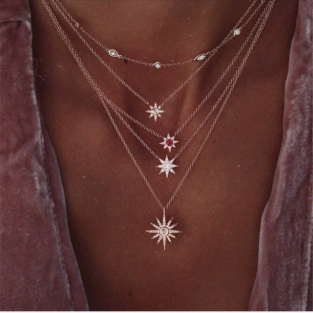 Starlight Layered Necklace Gold