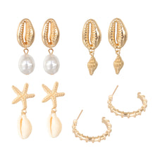 Load image into Gallery viewer, Mermaid Earrings Set of 4 Gold
