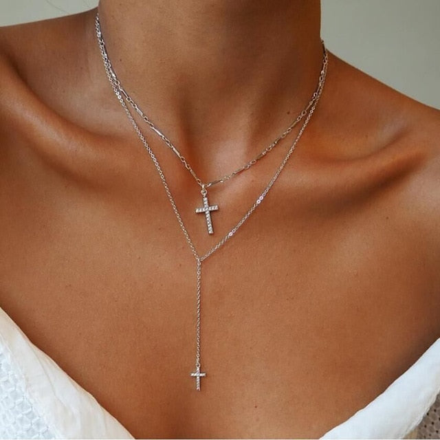 Double Cross Necklace Silver