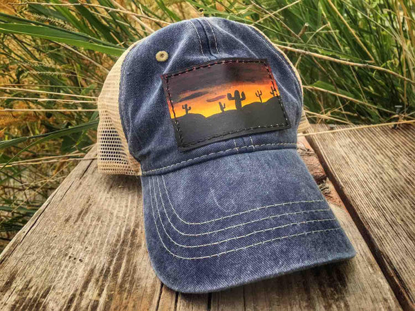 Hand Painted Leather Patch Cap - Desert Sunset