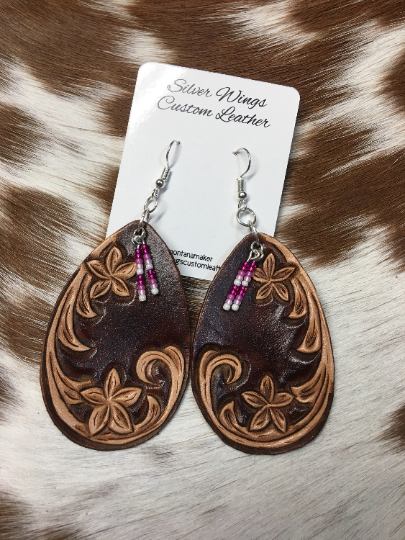 Original Hand Tooled Floral Leather Earrings