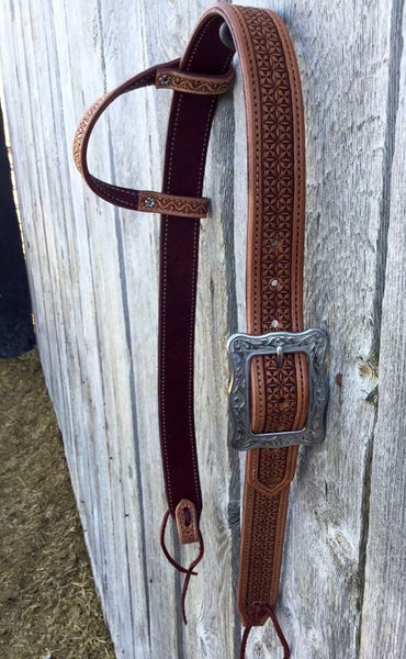 Made To Order Custom Geometric Stamped Tooled One Ear Belt Style Headstall