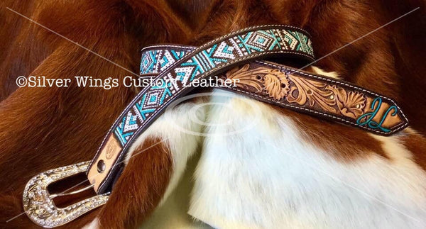 Made To Order Custom Hand Tooled Beaded Leather Belt