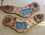 Made To Order Custom Tooled Carved Leather Spur Straps - Floral, Feather, Basket Stamped
