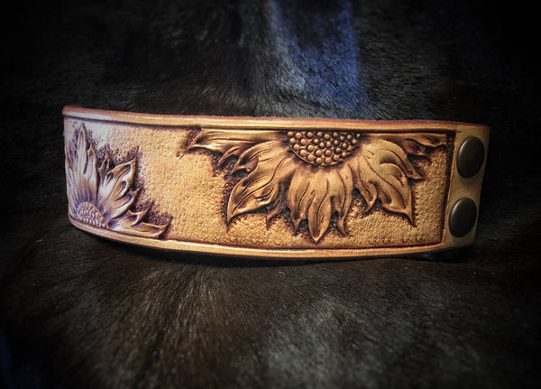 Made To Order Beautiful Custom Hand Tooled Leather Sunflower Cuff Bracelet
