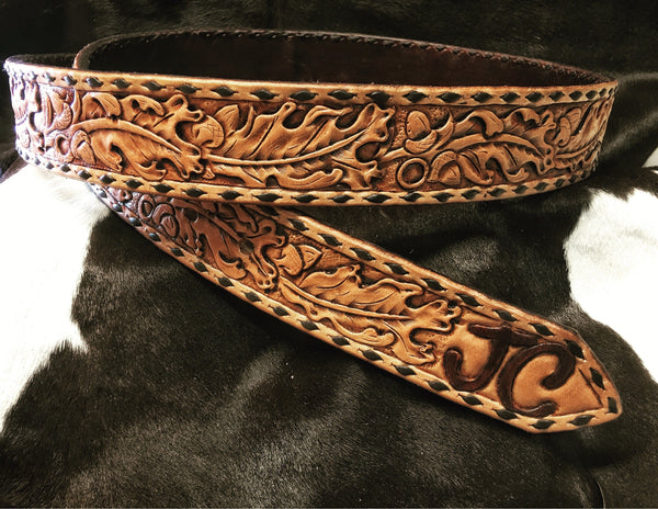 Made To Order Custom Hand Carved Hand Tooled Leather Belt Buckstitch