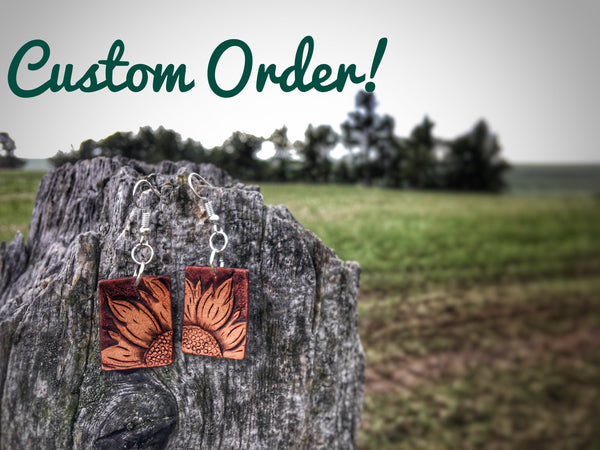 Made To Order Custom Hand Tooled Sunflower Leather Earrings