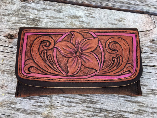 Custom Hand Tooled Leather Clutch Wallet Bag ~ Ready to Ship