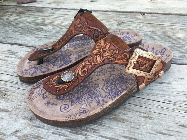Made To Order - Custom Tooled Leather Birkenstock Inspires Sandals Built on Muk Luks