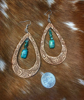 Hand Tooled Finger Carved Leather Earrings with Turquoise Stones