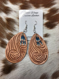Original Hand Tooled Finger Carved Leather Earrings