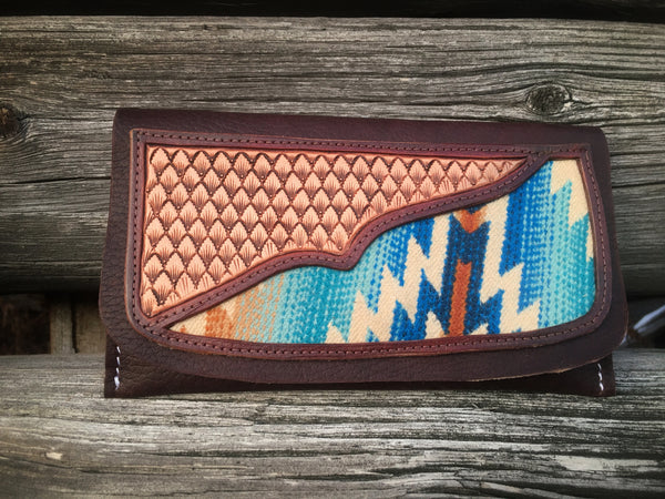 Hand Tooled Leather Clutch wallet with Pendleton Wool inlay ~ Ready to Ship