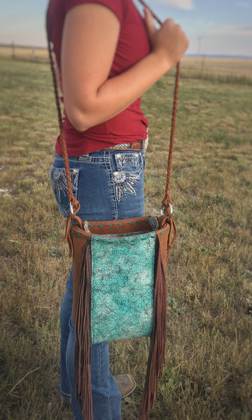 Fully Lined Cowhide Leather Crossbody Bag with Fringe & Turquoise Buckstitch