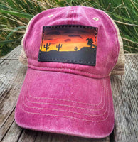Hand Painted Leather Patch Cap - Desert Mustang