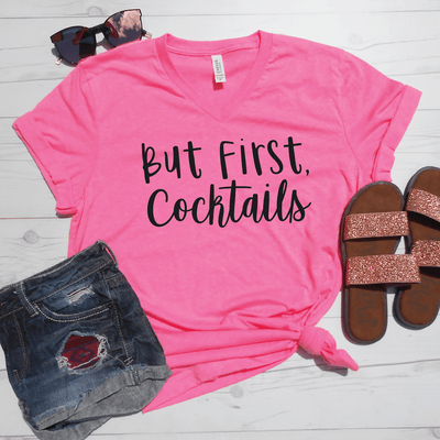But First Cocktails V-Neck Tee