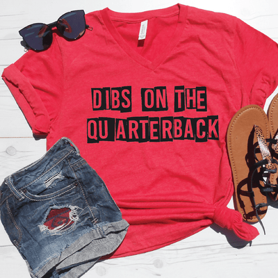Dibs On The Quarterback V-Neck Tee