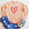 Double Heart Drop Shoulder Sweatshirt