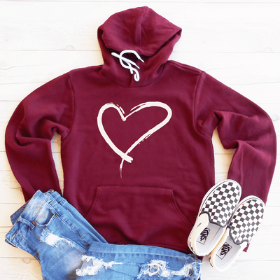 Heart Outline Fleece Lined Hoodie