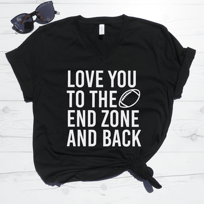 Love You To The End Zone And Back V-Neck Tee