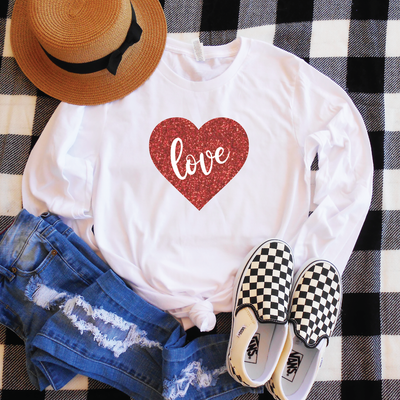 Love Glitter Heart Long Sleeve