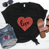 Love Glitter Heart V-Neck Tee