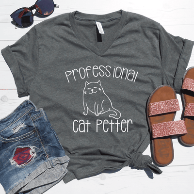 Professional Cat Petter V-Neck Tee