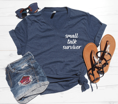 Small Talk Survivor V-Neck Tee
