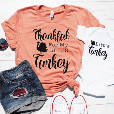 Thankful For My Little Turkey And Little Turkey Shirt Set