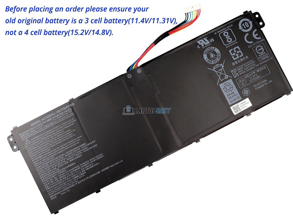 11.4V 36Wh Acer Chromebook 11 C730 battery