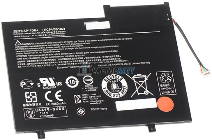 11.4V 2850mAh Acer AP14D8J battery
