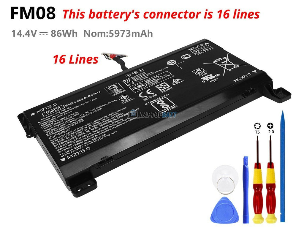 16 lines 86Wh HP FM08 battery
