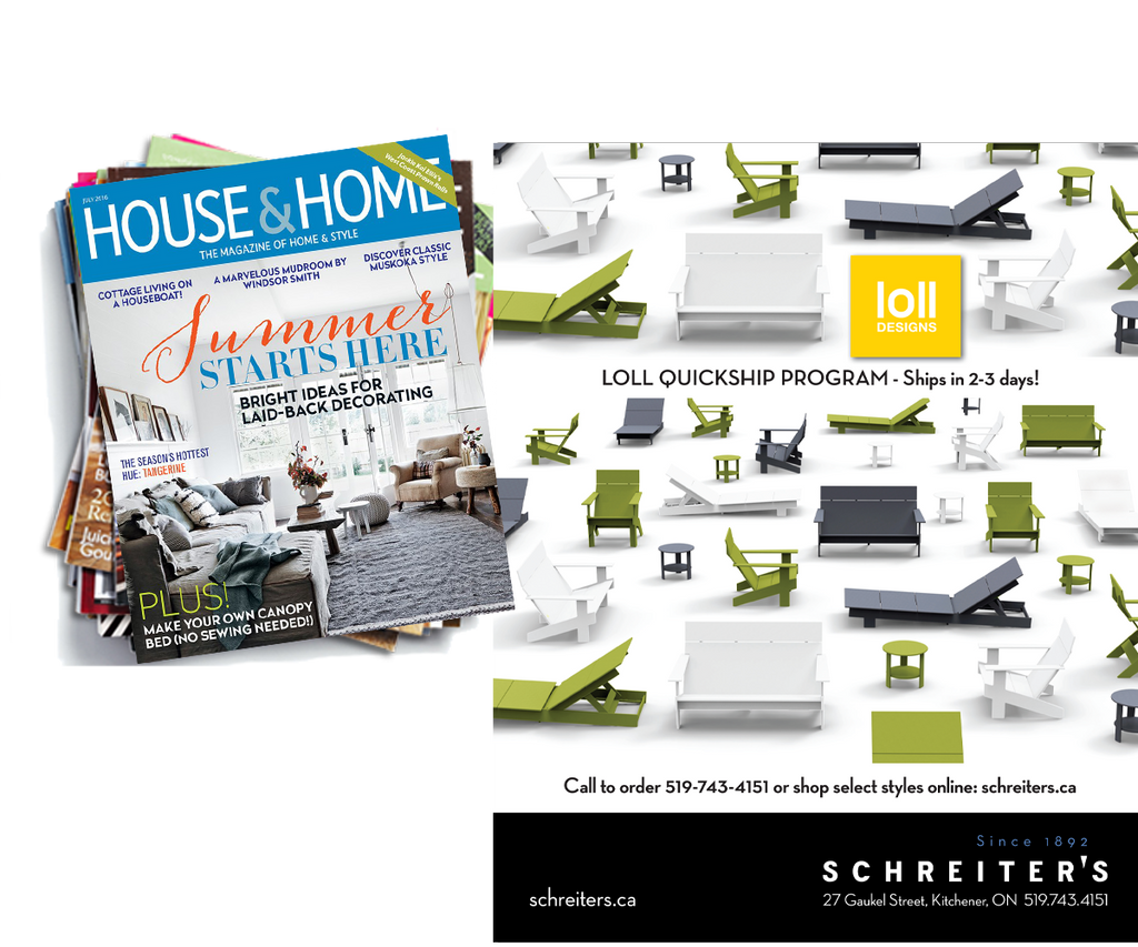 Schreiter's House & Home Ad July 2016 Featuring Loll Outdoor