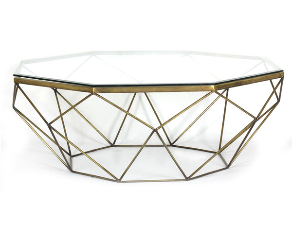 Four Hands Marlow Geometric Coffee Table Antique Brass