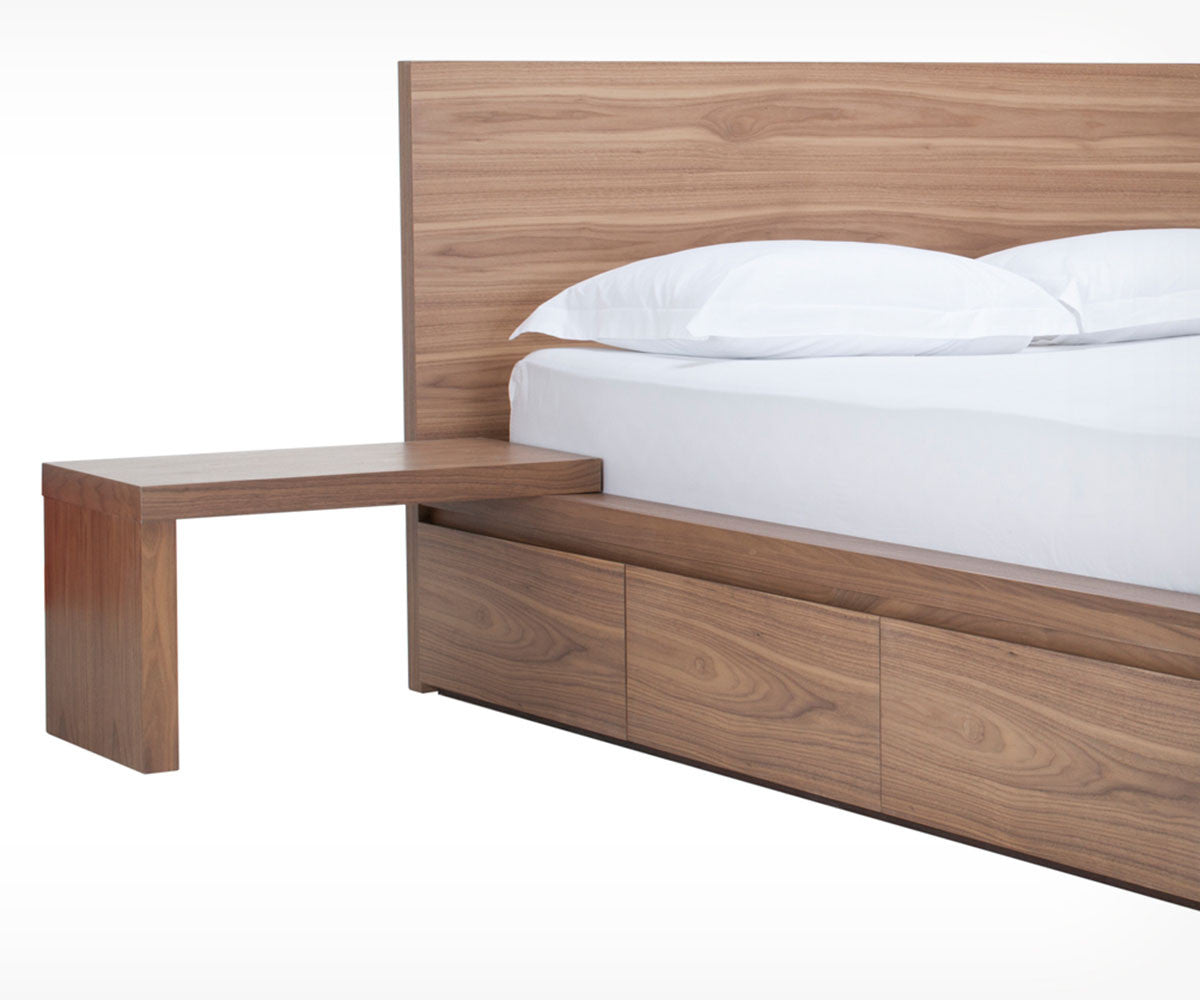 made with red oak veneer this bed features a simple platform design andboard . eq simple bed with storage  schreiter's
