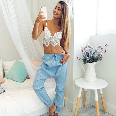 Crop top en dentelle - Superpromo.fr