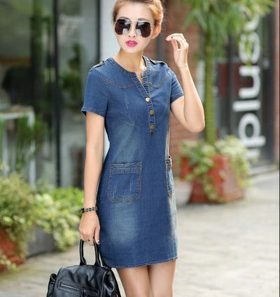 Robe denim manches courtes - Superpromo.fr