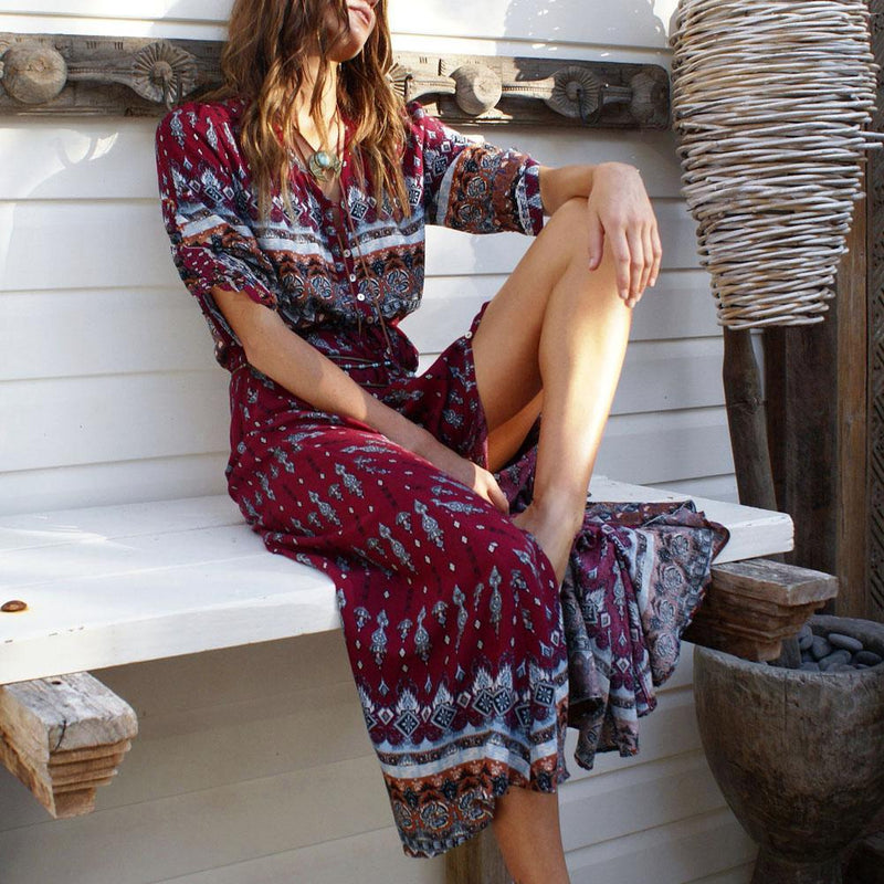 Robe longue style Hippie 2020 - Superpromo.fr