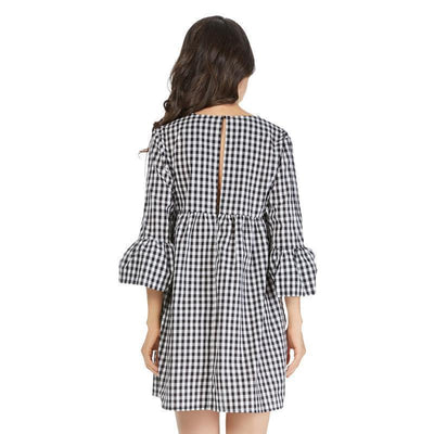 Robe col V à carreaux - Superpromo.fr