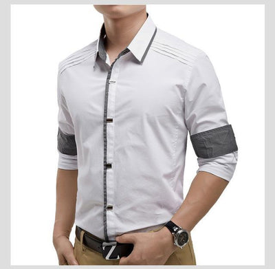 Top Quality Mwxsd brand mens casual long Sleeve 100% Cotton Shirts Men Rock Shirt Slim Fit solid Male dress shirt - Superpromo.fr