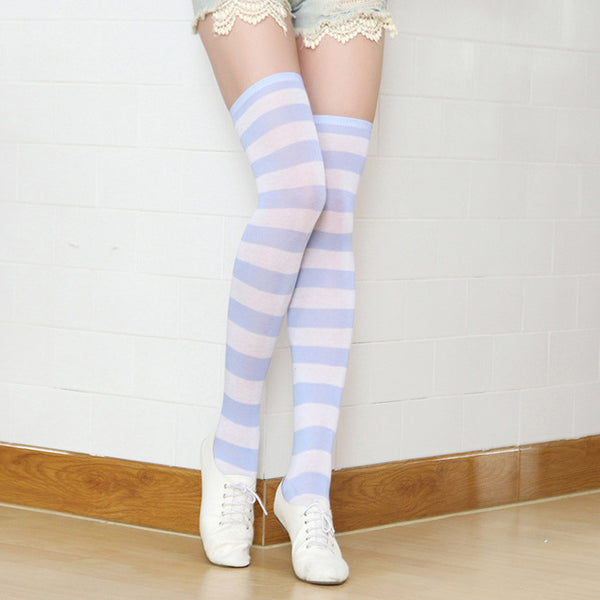 Knee high long striped socks