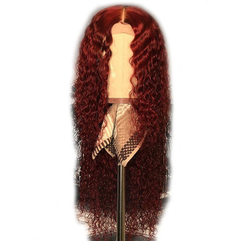 Human Hair Burgundy Curly Deep Middle Part Brazilian Lace Front Remy Wig